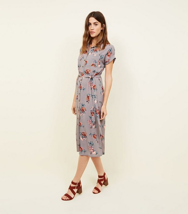 641acb432ce2 Light Grey Floral Midi Shirt Dress