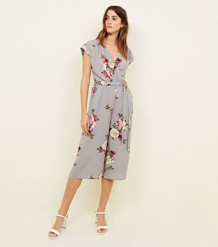 5f4eb3f644f2 Light Grey Floral Crepe Culotte Jumpsuit