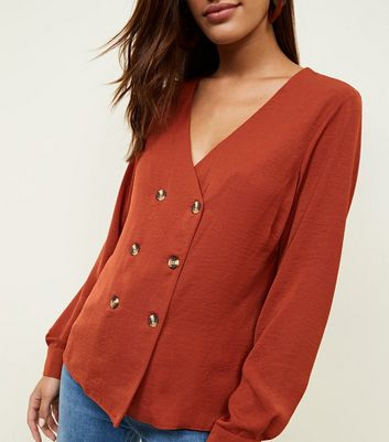 Rust Double Breasted Crepe Blouse