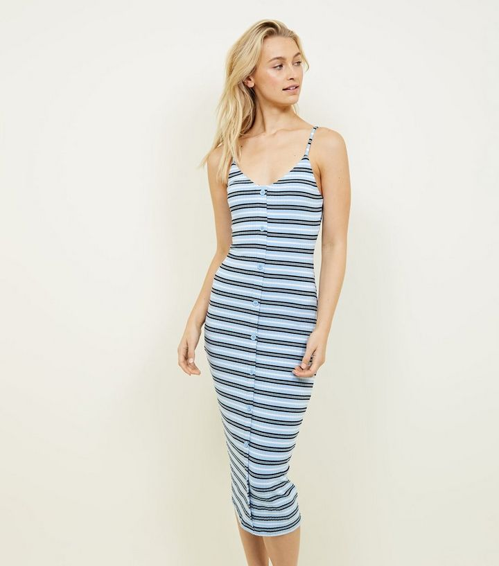 eba33ac2c8fab Blue Stripe Ribbed Button Front Midi Dress | New Look