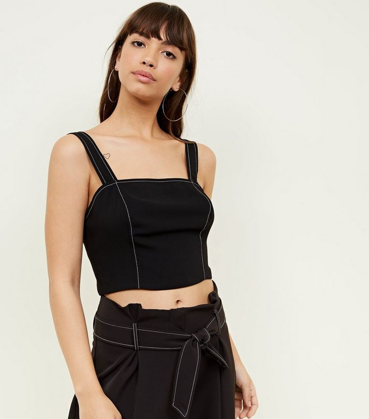 db68f879d7490 Black Contrast Stitch Crop Top