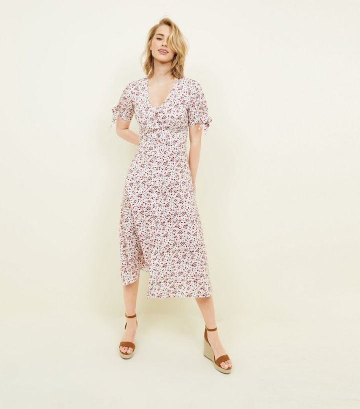 6b3d05fa4a79 White Ditsy Floral Button Up Midi Dress | New Look