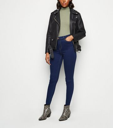 Blue Mid Rise Super Skinny Jeans