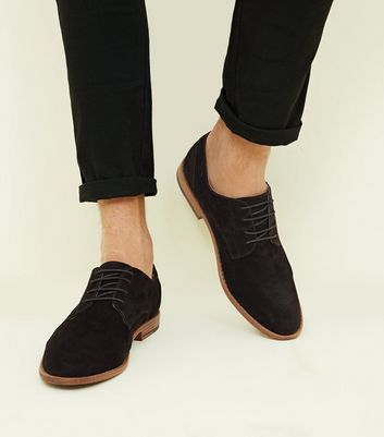 Black Faux Suede Lace-Up Desert Shoes