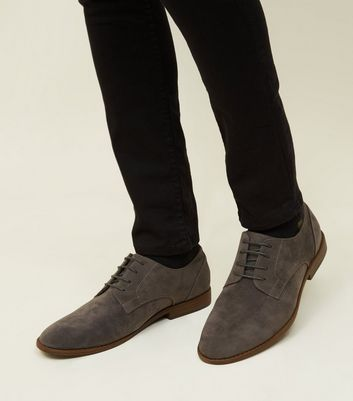 Dark Grey Faux Suede Lace-Up Desert Shoes