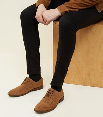 Tan Faux Suede Lace-Up Desert Shoes