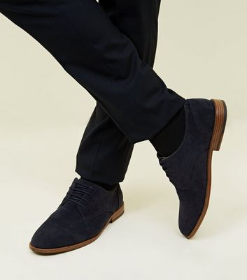 Navy Faux Suede Lace-Up Desert Shoes