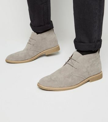Hellgraue Desert Boots in Wildleder-Optik