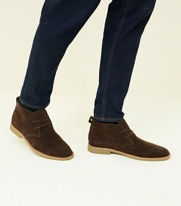 Dark Brown Faux Suede Desert Boots