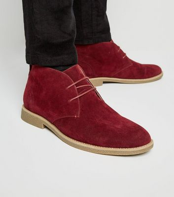 Dark Red Faux Suede Desert Boots