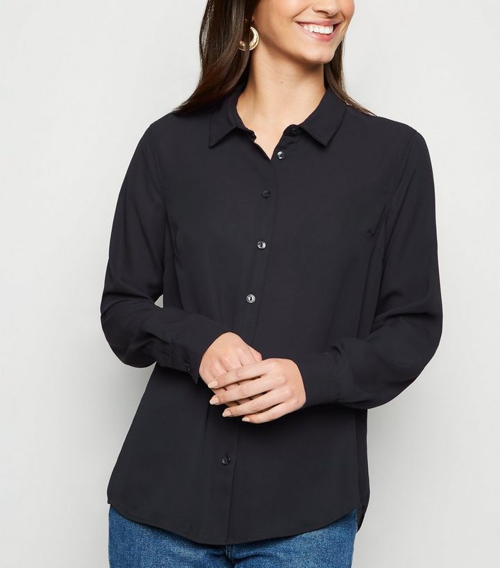 765681298bb5c0 Black Chiffon Shirt