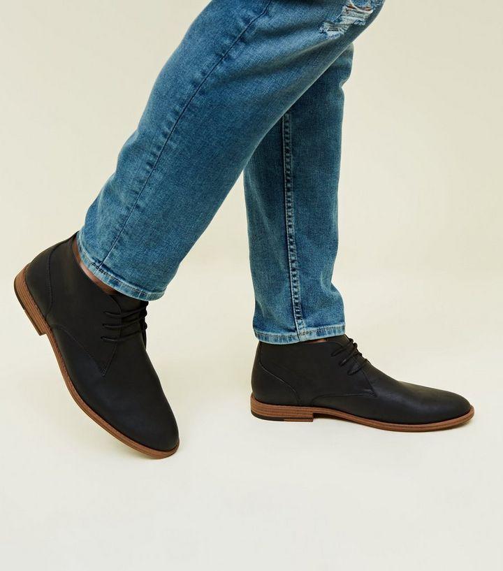 294479c385dbb Black Leather-Look Chukka Boots | New Look