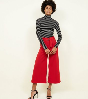 Dark Red D-Ring Belt Cropped Trousers