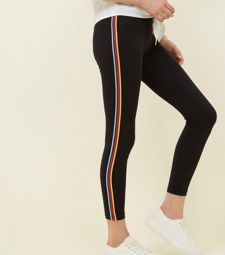 4ce90112f63ca ... Girls Black Rainbow Stripe Side Leggings. ×. ×. ×. Shop the look
