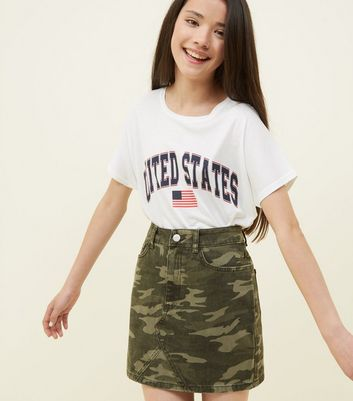 Girls Green Camo Print Denim Skirt