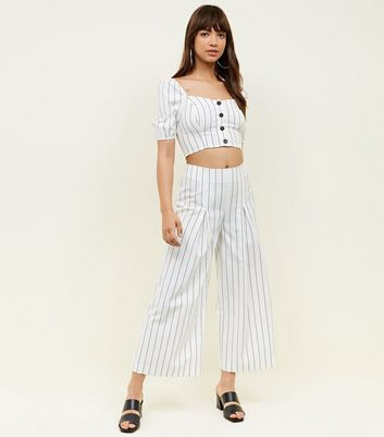 White Stripe Linen-Look Pleat Front Trousers