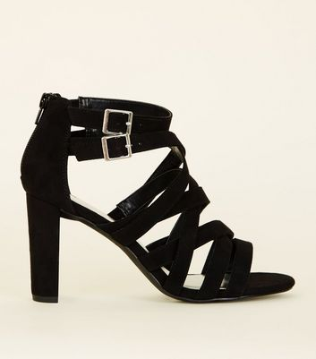 Wide Fit Black Suedette Strappy Block Heels