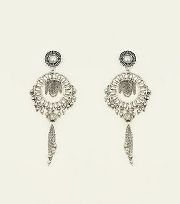Silver Burnished Disc Chain Drop Earrings
