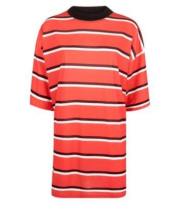 Pink Vanilla Red Stripe T-Shirt Dress New Look