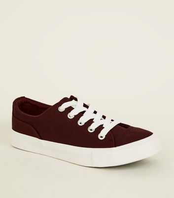 Girls Dark Red Canvas Chunky Lace Up Trainers