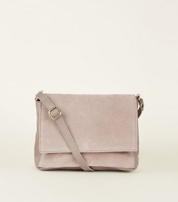 Nude Leather and Suede Foldover Cross Body Bag