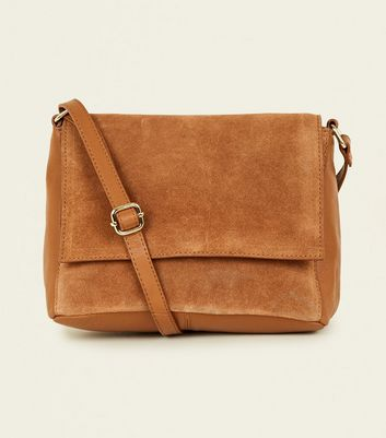 Tan Leather and Suede Foldover Cross Body Bag