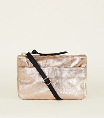 Rose Gold Suede Zip Top Cross Body Bag