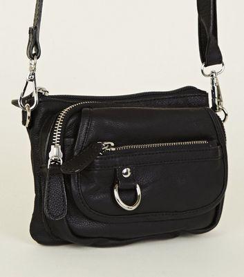 Black Leather Zip Pocket Shoulder Bag New Look