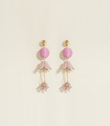 Lilac Orb and Flower Drop Earrings