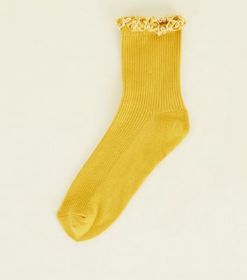 Mustard Velvet Frill Trim Ribbed Socks