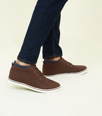Dark Brown Mid-Top Trainers