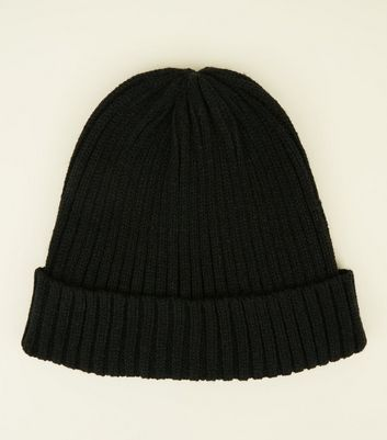 Black Ribbed Knit Beanie Hat