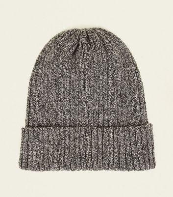 Light Grey Woven Knit Turned Up Hem Beanie