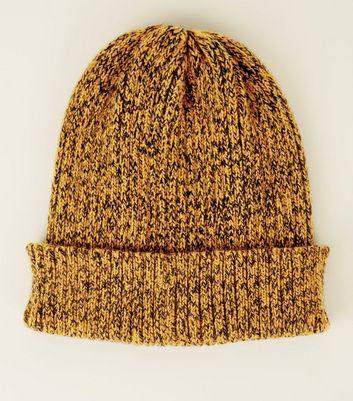 Orange and Black Ribbed Marl Turn-Up Kit Beanie