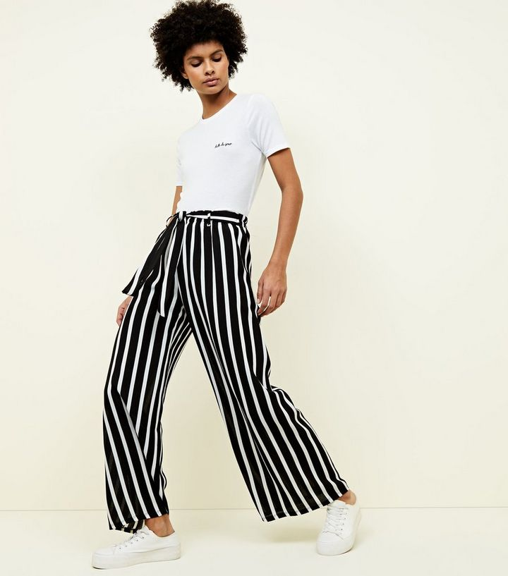 2c341f273d Lulua London Black Stripe Wide Leg Trousers | New Look