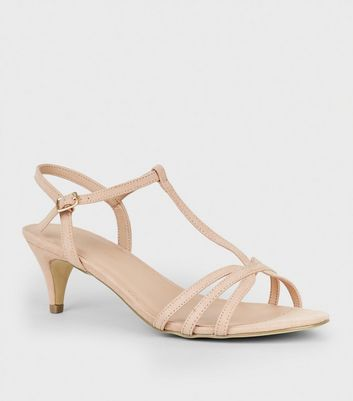 Wide Fit Nude Suedette Strappy Heels