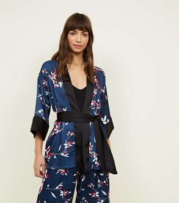 New Look - Cameo Rose Blue Floral Satin Kimono - 1