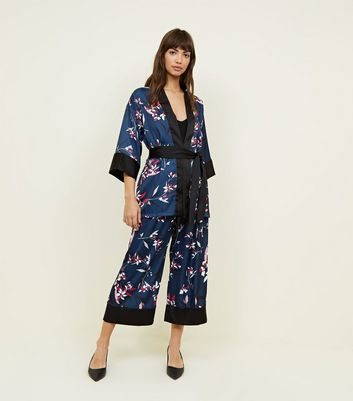 New Look - Cameo Rose Blue Floral Satin Kimono - 5
