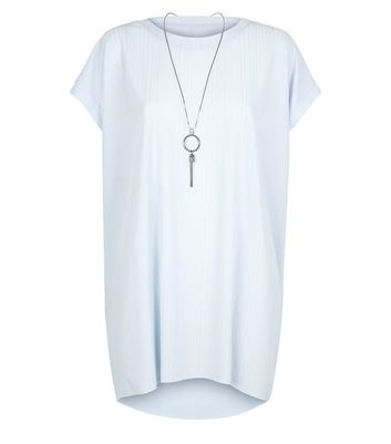 Blue Vanilla Curves Blue Oversized Necklace Top New Look