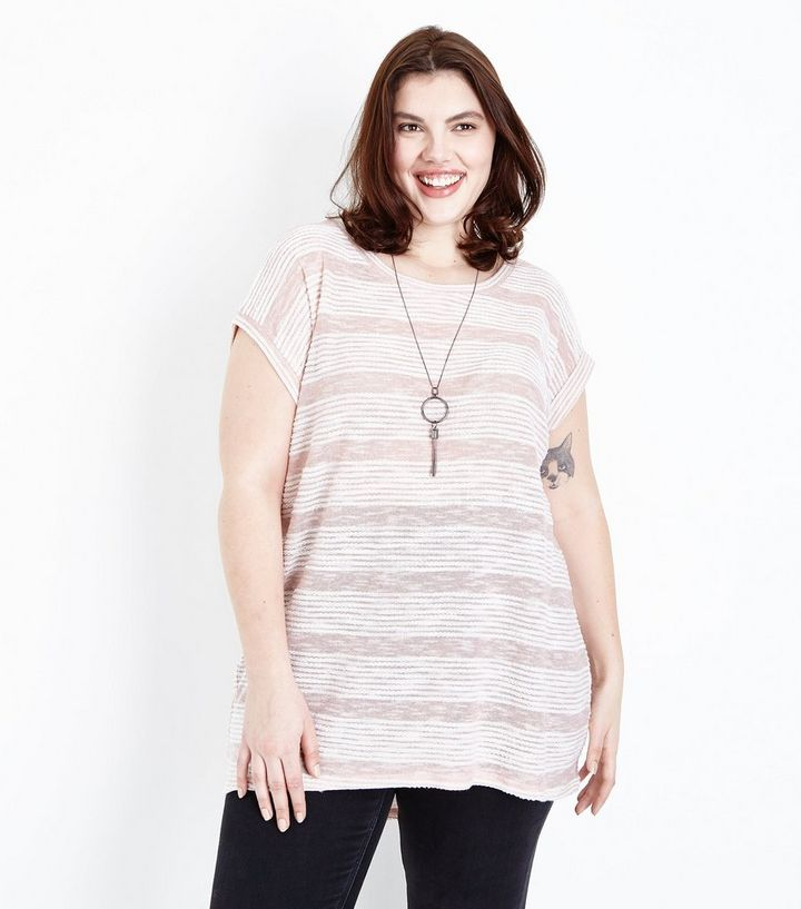 06e57aae489 Blue Vanilla Curves Pale Pink Necklace Tunic Top | New Look