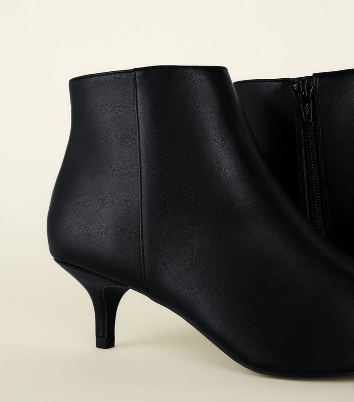 64abc75f9c0 ... Black Leather-Look Kitten Heel Ankle Boots. ×. ×. ×. Shop the look