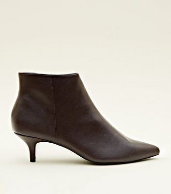 Dark Red Leather-Look Kitten Heel Ankle Boots