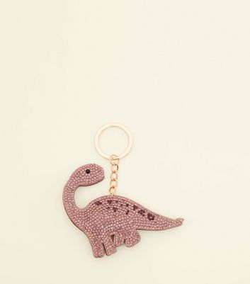 Purple Diamanté Dinosaur Keyring