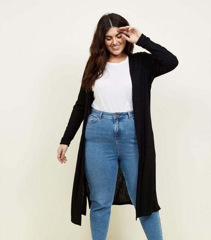 e48ca410972a Curves Black Fine Knit Midi Cardigan | New Look