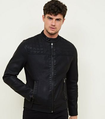 Black Collarless Leather-Look Biker Jacket
