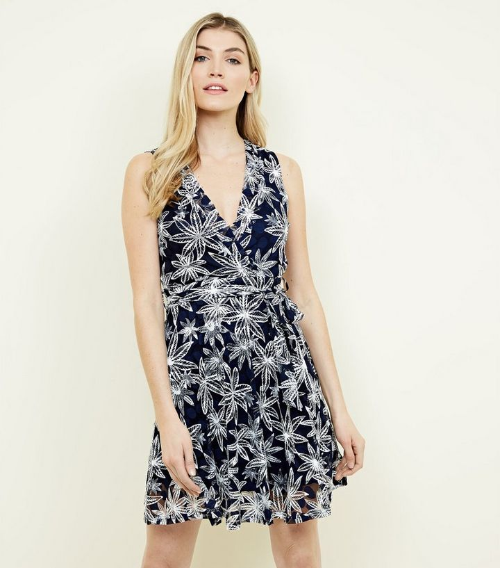 1fa7b261827c6 Apricot Navy Floral Spot Mesh Dress   New Look