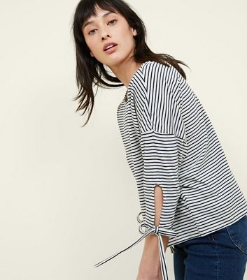 Apricot Navy Stripe 3/4 Sleeve Top