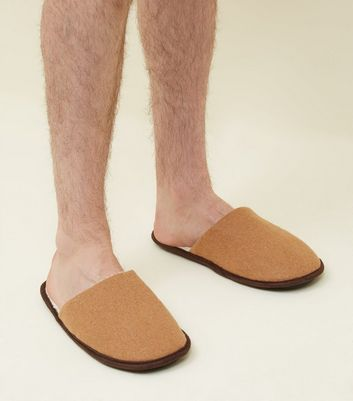 Tan Borg Lined Mule Slippers