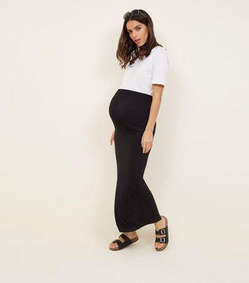 e6948a1e2b Maternity Black Side Split Jersey Maxi Skirt | New Look