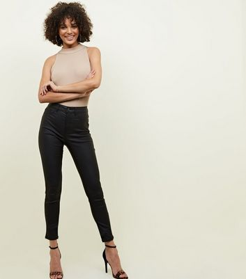 Black Coated High Waist Super Skinny Hallie Jeans